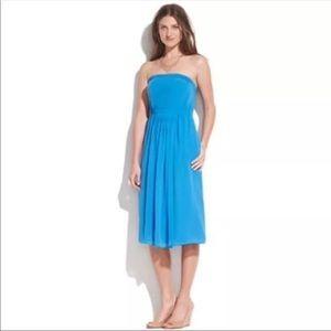 Madewell Strapless Silk Midi Dress